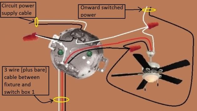 Power Fixture Light 3 Way Fan 1 Fan Light Switched